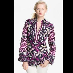 Tory Burch Purple Multicolor Daria Silk Tunic